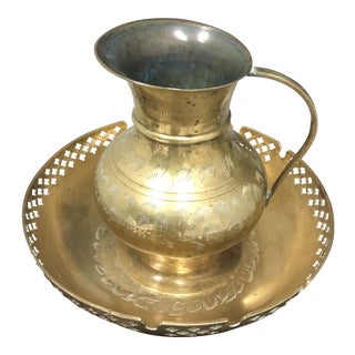 Vintage India Brass Pitcher and Bowl Set - 2 Piece For Sale