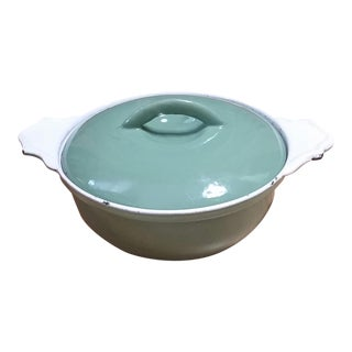 Antique Belgium Cast Iron Green Enamel Covered Casserole For Sale
