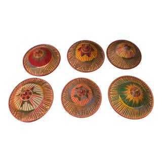 Vintage Asian Rattan Wicker Colorful Hats - Set of 6 For Sale