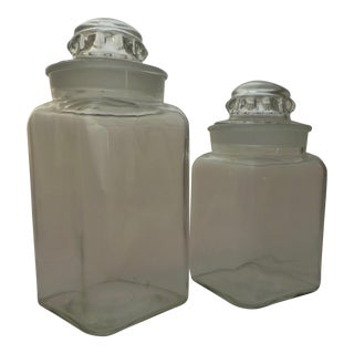 1900s Antique Glass Apothecary Jars - a Pair