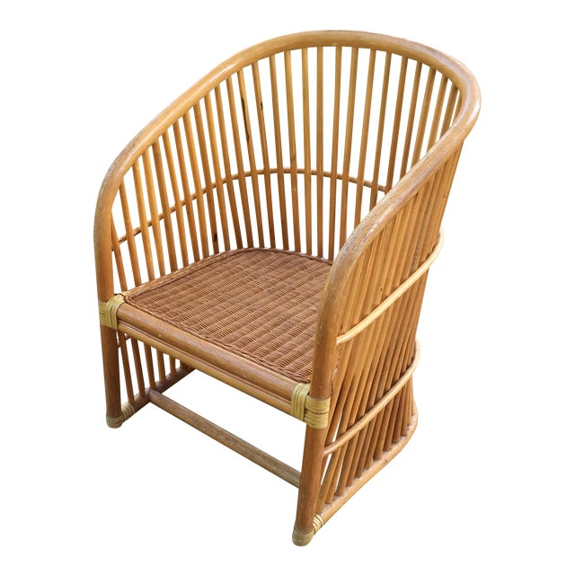 Vintage Rattan Barrel Chair - Image 1 of 11