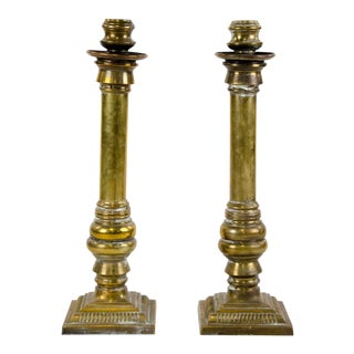 Antique Large Brass Candle Holders - a Pair For Sale