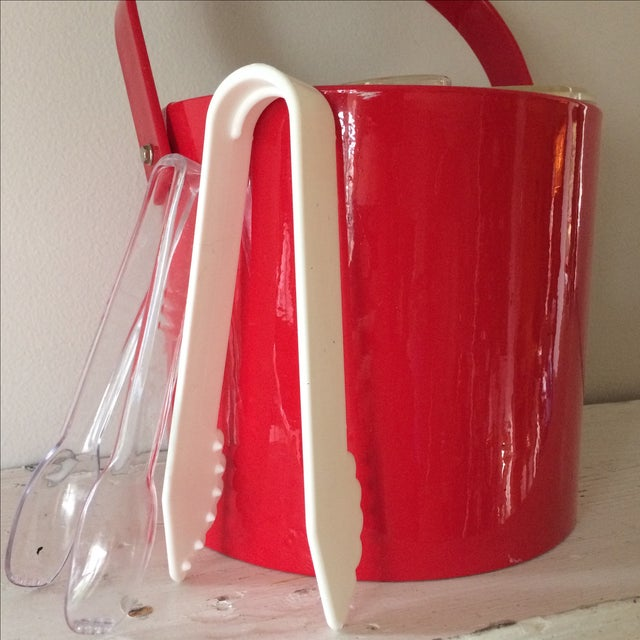 Vintage Red Ice Bucket & Tongs For Sale - Image 4 of 5