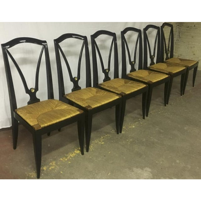 Gold Maison Jansen Refined Set of 6 Black Dinning Chairs With Rush Seat For Sale - Image 8 of 8