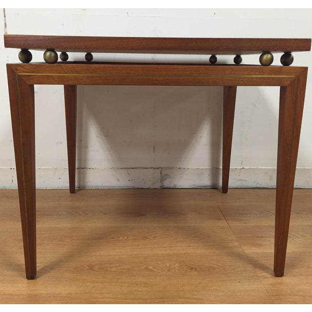 Mid-Century Solid Walnut & Brass Side Table - Image 4 of 11