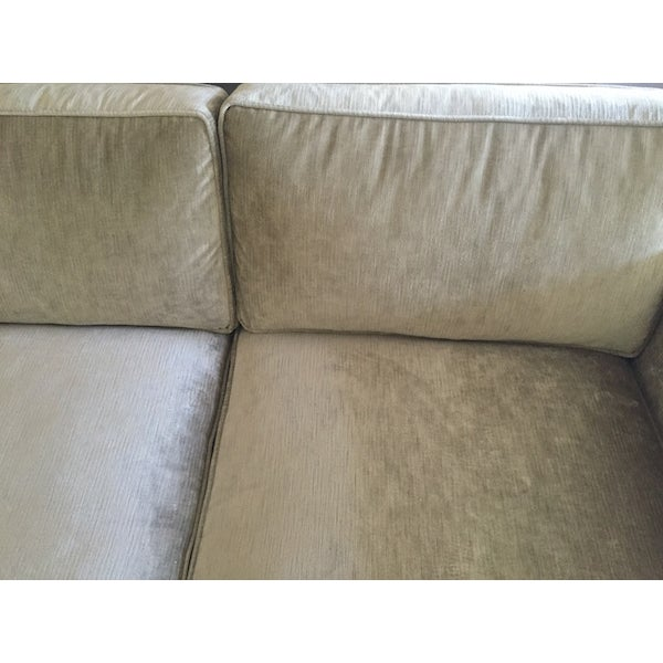 Mid-Century Reupholstered Taupe Sofa - Image 4 of 6
