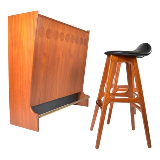 Mid Century Teak Dry Bar by Johannes Andersen & Two Erik Buch Barstools For Sale