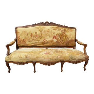 1900s French Louis XV Gold Tapestry Upholstered Walnut Settee Sofa Canape For Sale