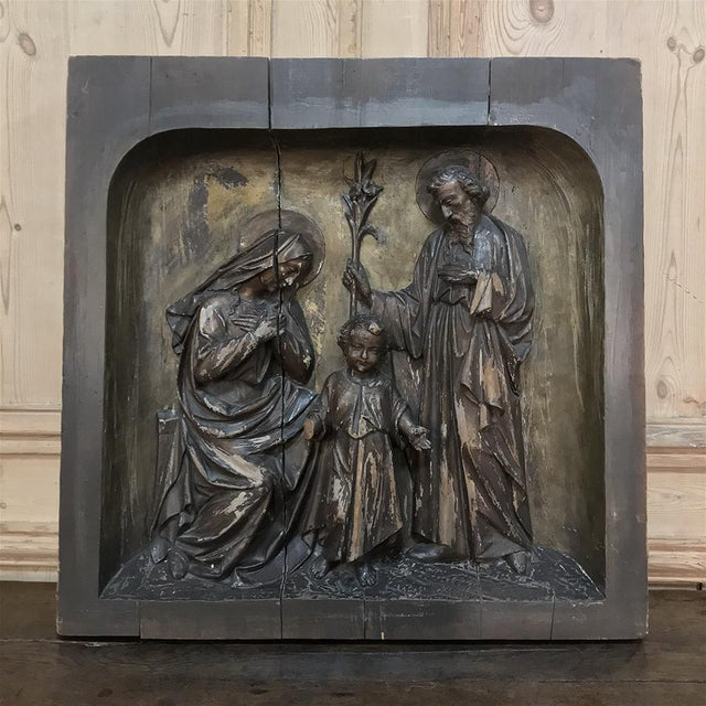19th Century Carved Panel of the Holy Family For Sale - Image 11 of 11