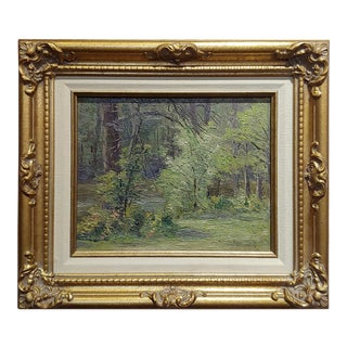 Ben Carre - Wooded Landscape at Fort Lee,VA -Oil Painting C.1915 For Sale