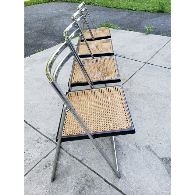 Metal Mid Century Modern Chrome & Cane Folding Chairs- Set of 4 For Sale - Image 7 of 13
