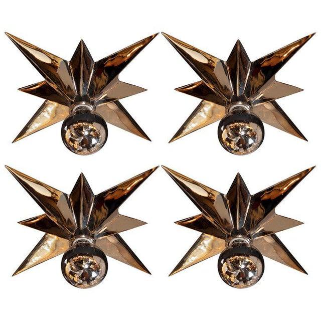 Mid-Century Modern Polished Nickel Star Flush Mounts - Set of 4 For Sale - Image 10 of 10