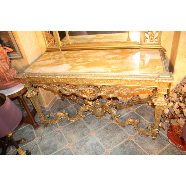 Brown Late 19th Century Antique French Console Table For Sale - Image 8 of 12