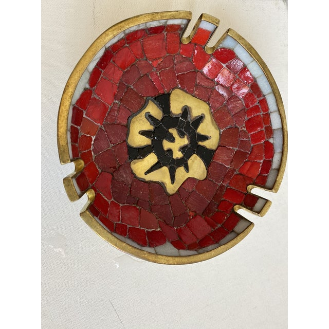 Mexican Salvador Teran Brass and Glass Decorative Bowl For Sale - Image 3 of 6