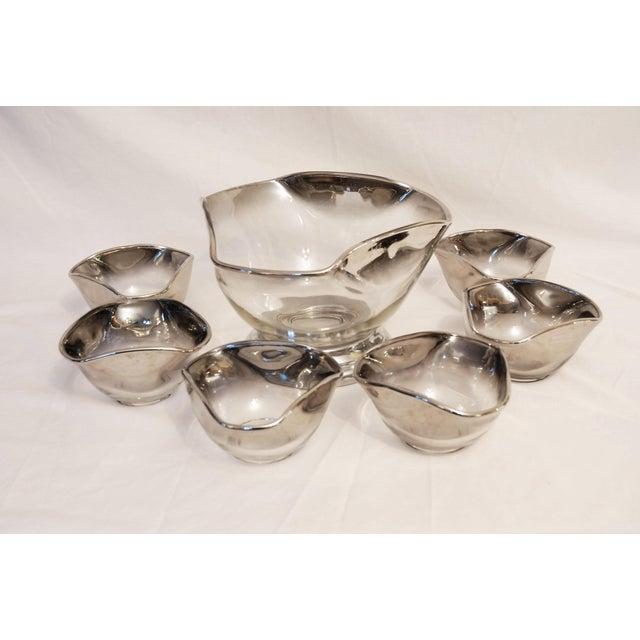 Transparent Vintage Mid-Century Dorothy Thorpe Silver Rim Fade Glass Salad Bowl Set of 7 For Sale - Image 8 of 8