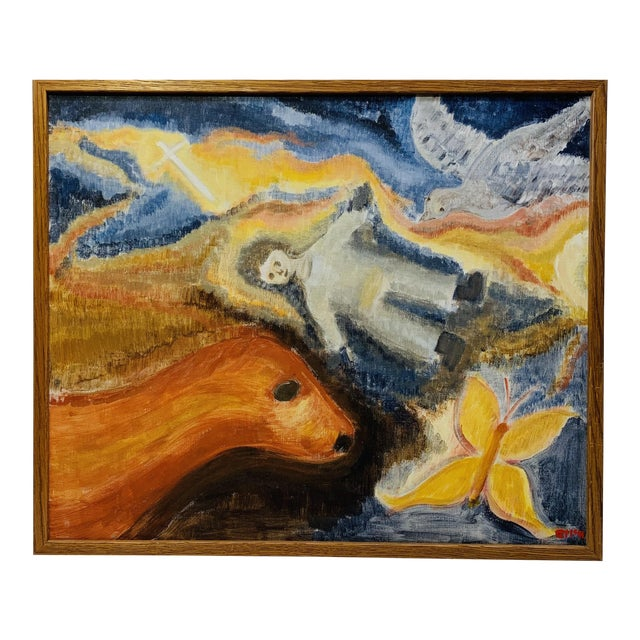 Late 20th Century Allegorical Religious Themed Painting For Sale