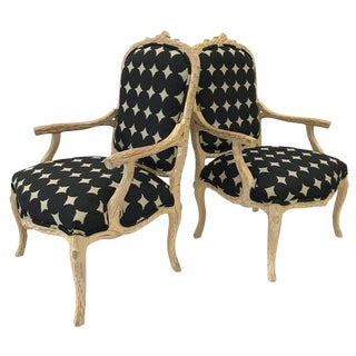 1980s Faux Bois Newly Upholstered Chairs — a Pair