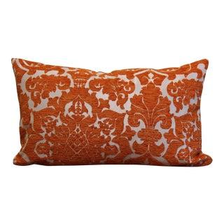 Orange Damask Floral Pillow For Sale