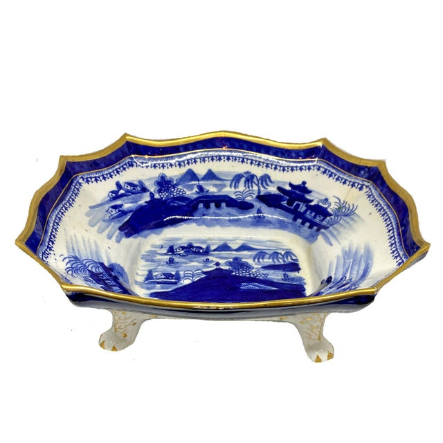 19th Century Early English Blue & White Chinoiserie Footed Bowl For Sale - Image 4 of 4