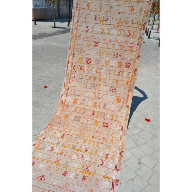 Antique Turkish handmade Kilim runner rug - a wool on cotton, Turkish Kilim runner rug that is in used condition. Size:...