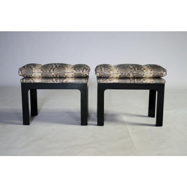 Parson Style Black Lacquered Console Table and Benches - Image 9 of 11
