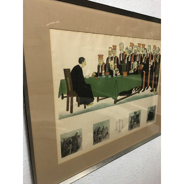 """Realism Early 20th Century Framed Wall Art, """"Passing the Bar"""" by Adrien Barrere For Sale - Image 3 of 11"""