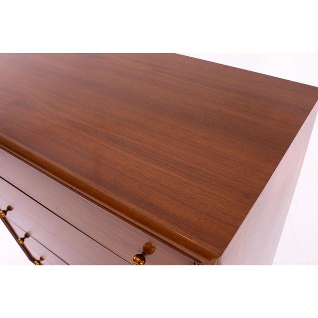 "Metal Kent Coffey ""The Continental"" Mid Century Walnut Highboy Dresser For Sale - Image 7 of 12"