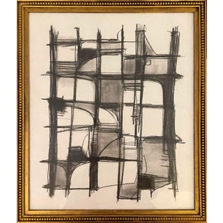 Contemporary Abstract Charcoal Drawing, Framed For Sale