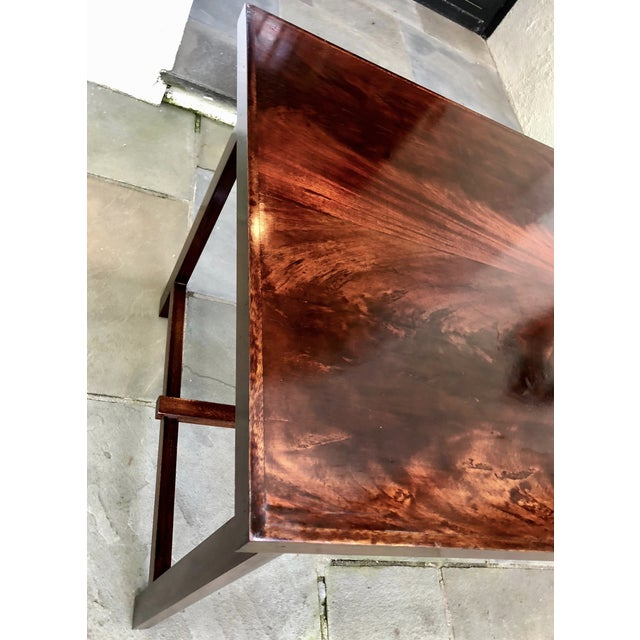 1950s Custom Flame Mahogany Collapsible Dessert or Serving Table For Sale - Image 5 of 10