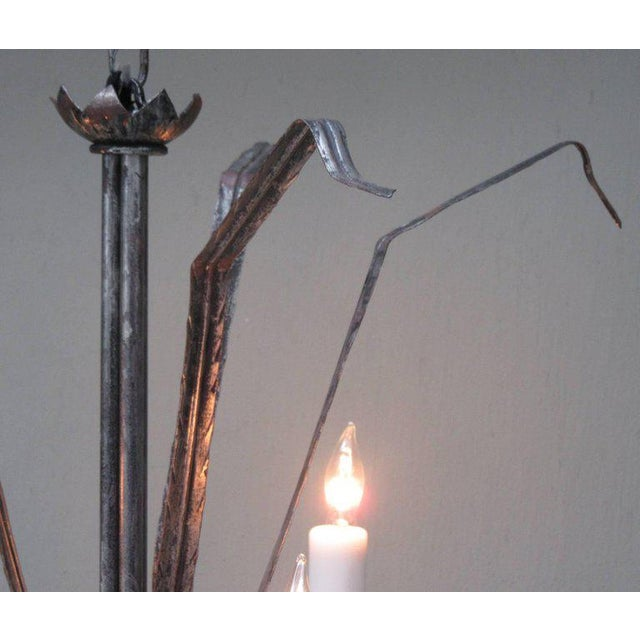 Metal Early 20th Century Spanish Barcelona Silvered Tole Reed Chandelier For Sale - Image 7 of 8