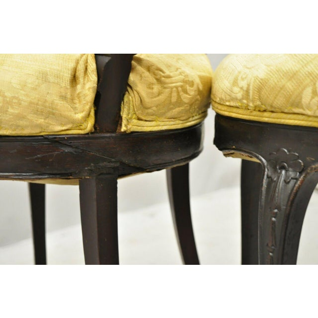 Red Antique French Victorian Carved Rosewood Small Petite Accent Side Chairs - Pair For Sale - Image 8 of 13