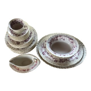 Wedgewood Purple Vine Creamware China - Set of 31 For Sale
