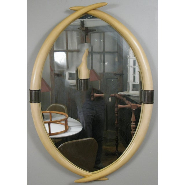 1970s Chapman 1970's Faux Elephant Tusk Mirror For Sale - Image 5 of 5
