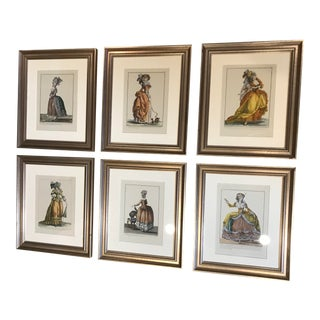 """1860s French Hand Colored""""s Fashion Engravings - Set of 6 For Sale"""