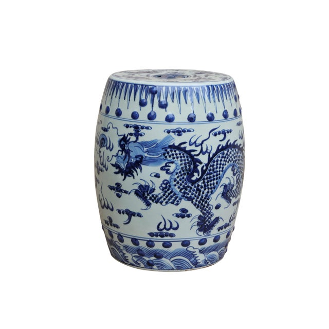 Ceramic Chinese Blue & White Ceramic Garden Stool For Sale - Image 7 of 7