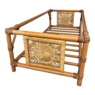 1970s Boho Chic Style Rattan Coffee Table For Sale