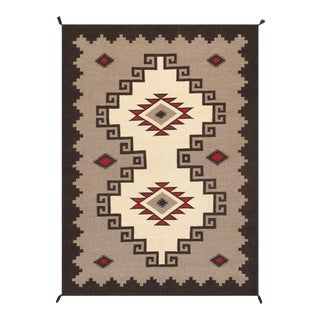 Contemporary Navajo Style Wool Area Rug - 3′1″ × 4′11″ For Sale