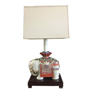 Vintage White and Orange Ceramic Elephant Lamp With Shade For Sale