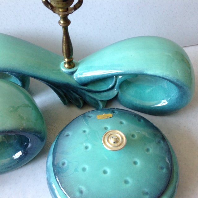 Mid-Century Sea Foam Green & Blue Pottery Lamp Set For Sale - Image 10 of 11