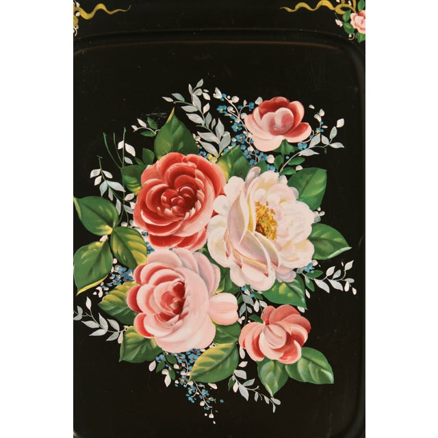 Mid 20th Century Vintage French Black Tole Tray With Floral Design For Sale - Image 5 of 9