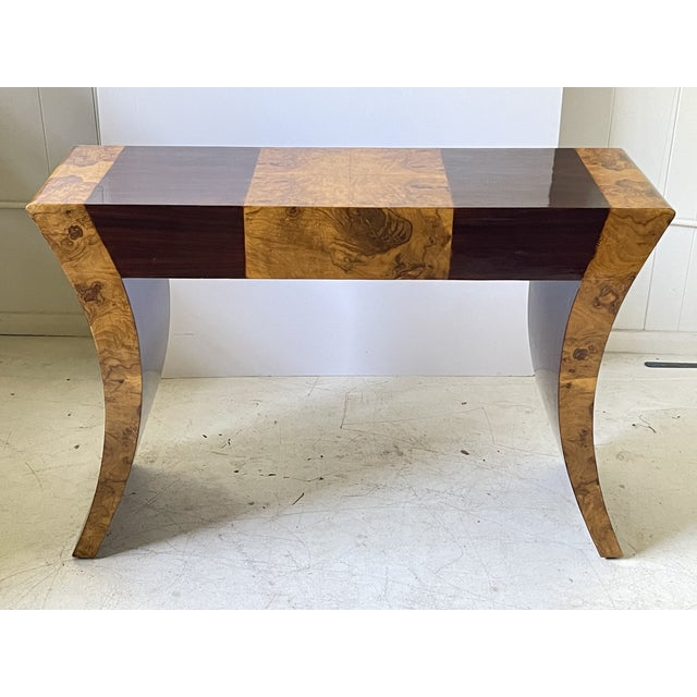 Wood Vintage Italian Rosewood and Burlwood Console or Desk For Sale - Image 7 of 13