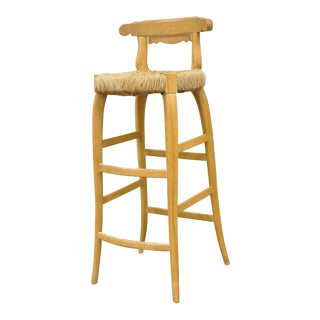 Garcia Imports Spain Modernist Rustic Primitive Wooden Rush Seat Bar Stool Chair For Sale