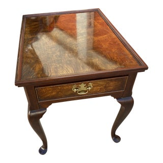 Queen Anne Hekman Furniture Burl Wood Side Table With One Drawer For Sale