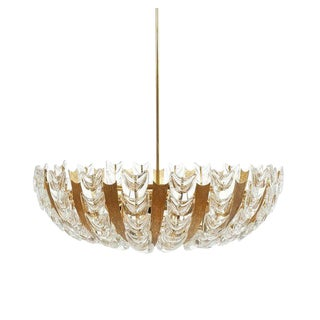 Palwa Large Gold Brass and Glass Chandelier Lamp, 1960 For Sale