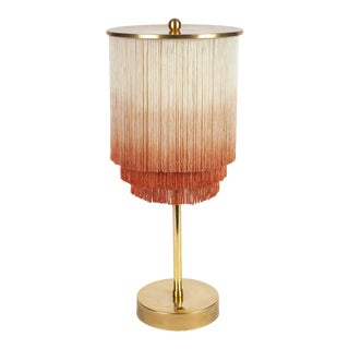 Modern Fringe Table Lamp in Cream/Dusty Rose For Sale