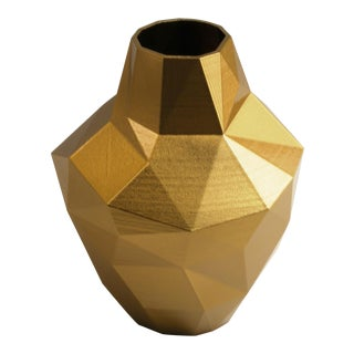 Redux Polygon Accent Vase, Gold Finish