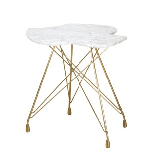 Etoile Tulipe Bronze Side Table with Carrara Marble Top For Sale