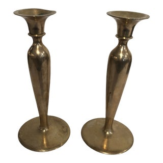 Antique Brass Candlesticks - a Pair For Sale