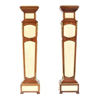 Mahogany Wood / Faux Marble Panels Pedestal Tables - a Pair For Sale