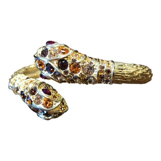 Vintage Kenneth Jay Lane Snake Bracelet With Inlaid Stones For Sale